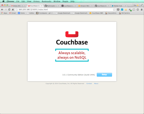 Couchbase Welcome Screen